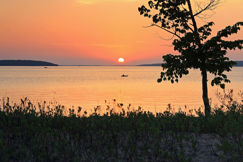 lake-charlevoix-sunset-young-state-park