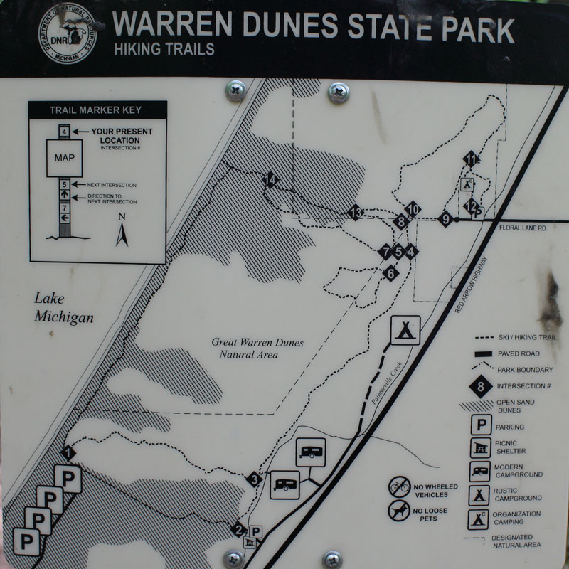Hiking At Warren Dunes State Park North Trails Mymichigantrips: Warren Dunes State Park Trail Map At Usa Maps